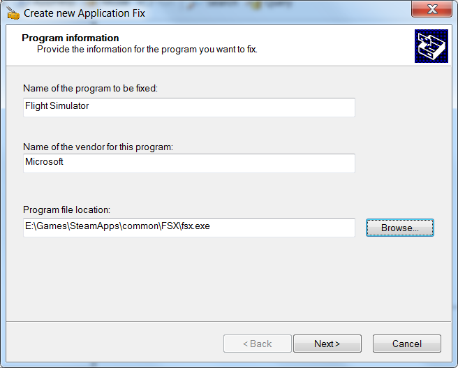 Create new Application Fix - Step 1